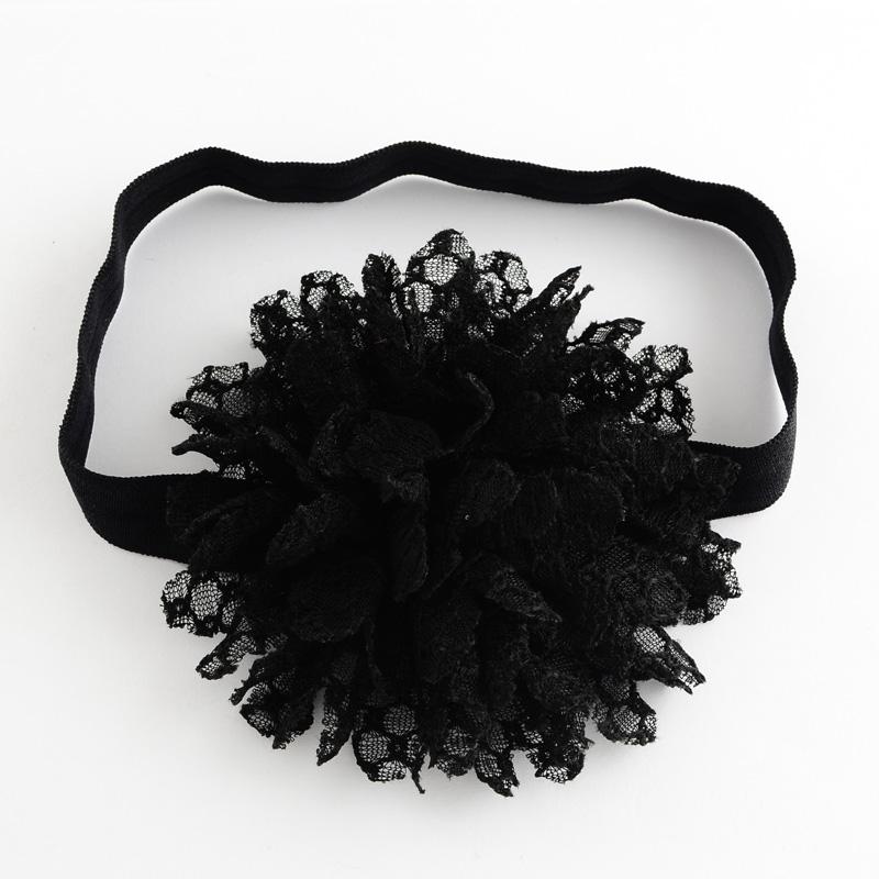 Dětská pružná čelenka s květinou do vlasů - černá  8996004d86