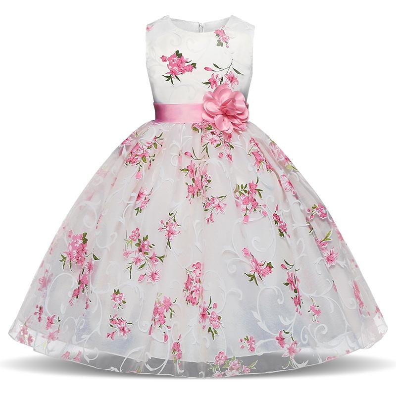Dětské slavnostní šaty bílé s květy svatební luxusní pro družičku 933e8def86