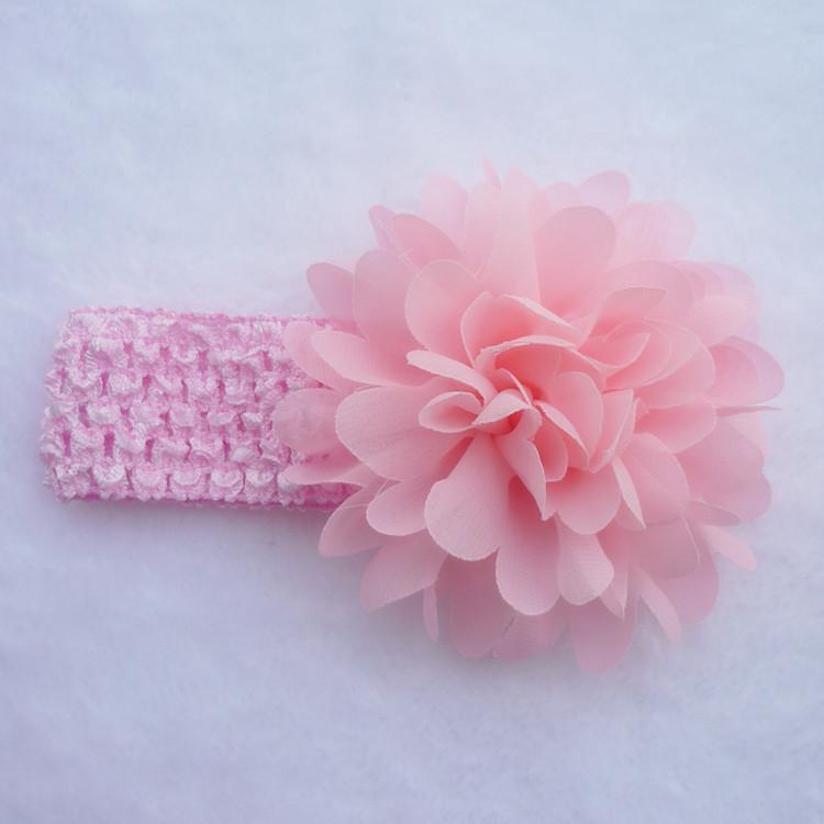 8a685ea0efd Dětská pružná čelenka s květinou do vlasů - růžová světlá