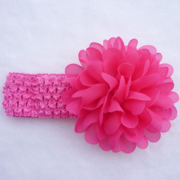 Dětská pružná čelenka s květinou do vlasů - růžová tmavá  62dd6c2744