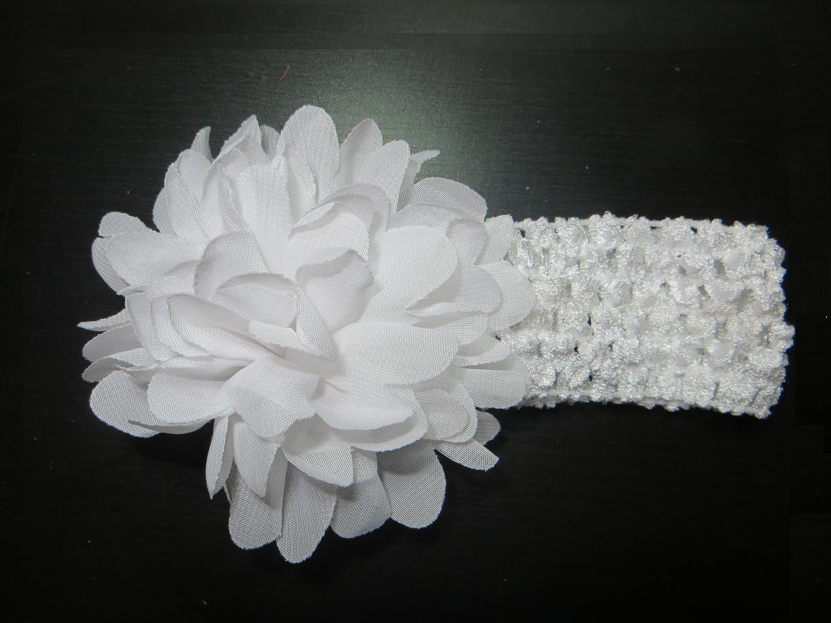 Dětská pružná čelenka s květinou do vlasů - bílá  8dcd512bff