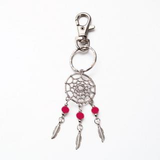 Klíčenka ozdoba na kabelku lapač snů červené perličky TOPBEADS empty ba20cb8478
