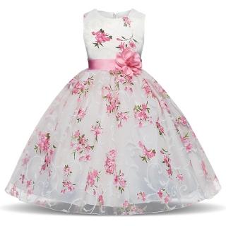 2438aab1115 Dětské slavnostní šaty bílé s květy svatební luxusní pro družičku empty